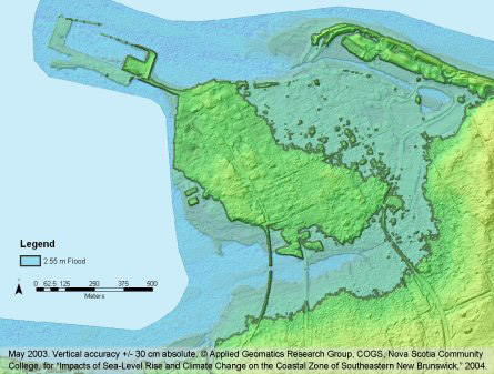 3D Flood Modeling with LIDAR - LIDAR Color Shaded Image of Pointe du chene New Brunswick with modeled January 2000 Flood maps layered ontop