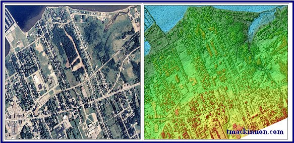 Ortho photo of Shediac New Brunswick and a CSR model comparing the similarities of photogrammetry and LIDAR surfaces