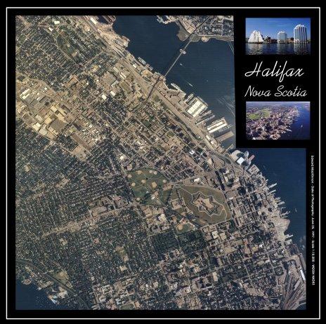 Seamless aerial photograph mosaic of Halifax, Nova Scotia