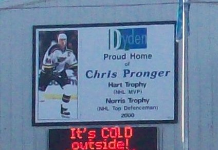 Chris Pronger Arena in Winter in October in Dryden, Ontario