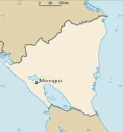 Location Map of Managua, Nicaragua