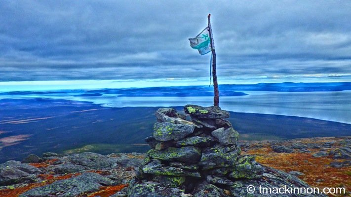 Labrador Flag perched on top of Mountain