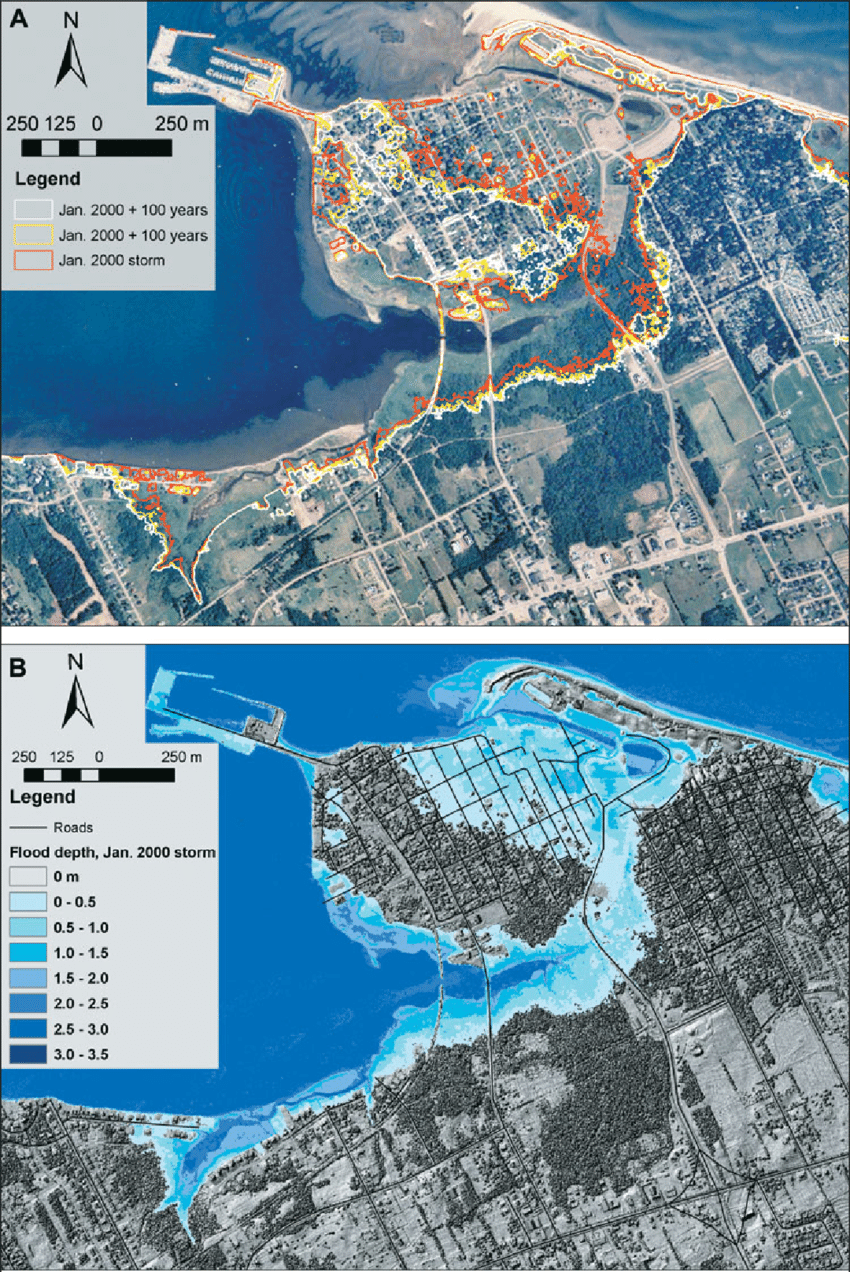 Flood-risk mapping for storm-surge events and sea-level rise using lidar for southeast New Brunswick