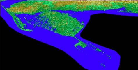 Color Shaded Relief Models of Pointe Du Chene, New Brunswick with flood