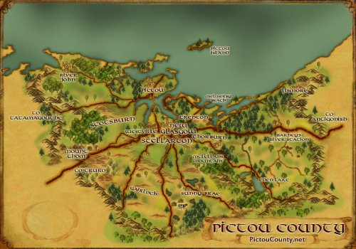 Cartography, GIS, and map making - a custom graphic map of Pictou County, Nova Scotia