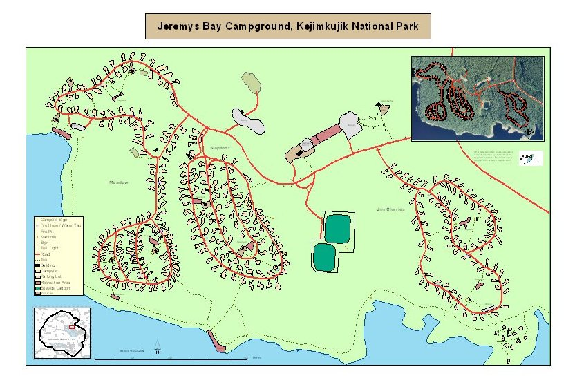 Map showing GPS data collected in 2003 at Jeremys Bay Campground, Kejimkujik National Park and Historic Site