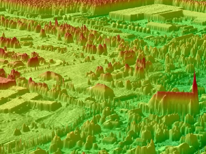 Color Shaded Relief Models - Three dimensional color shaded relief (CSR) perspective view of high resolution LIDAR