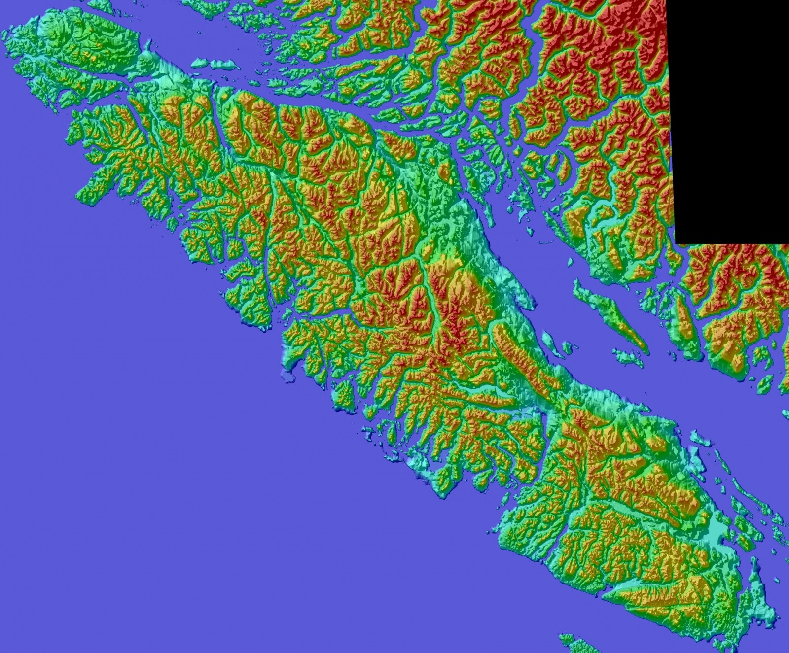Color Shaded Relief Model of Vancouver Island, British Columbia