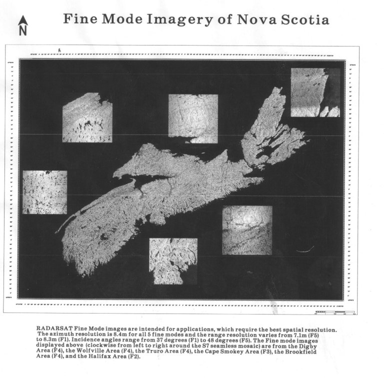 RADARSAT fine modes - map of Nova Scotia