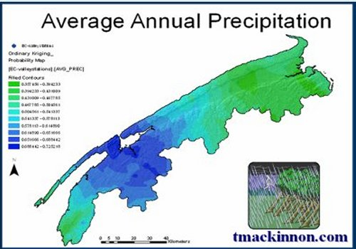 GIS Model of Average Annual Precipitation of the Annapolis Valley, Nova Scotia