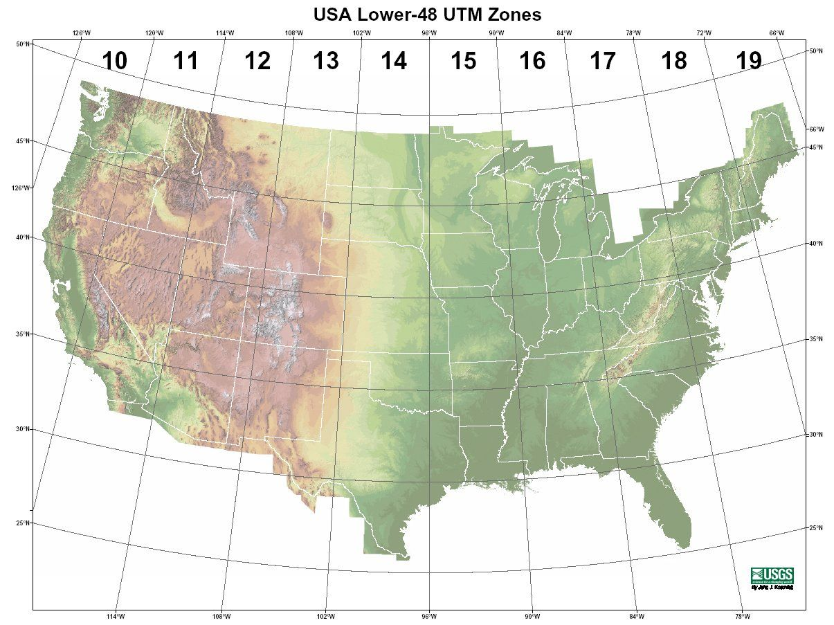 UTM Rows and Zones key map of USA