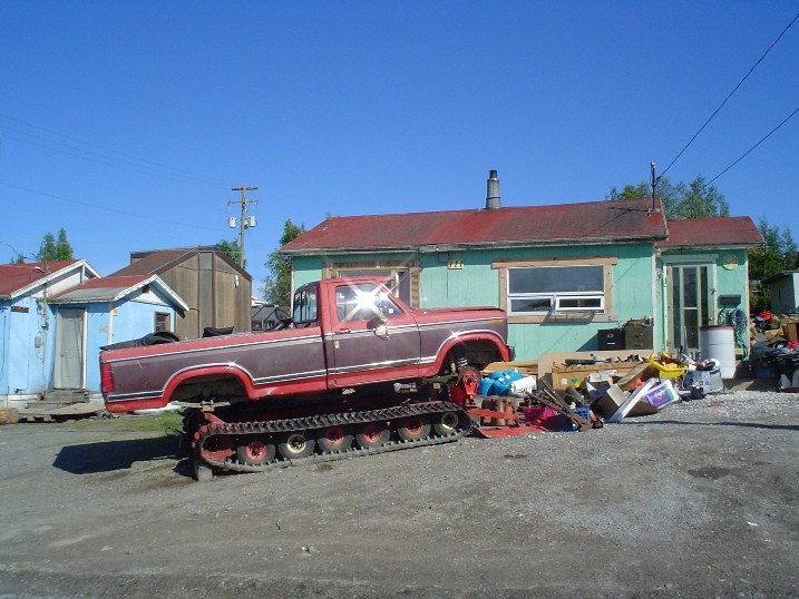 Ford truck turned into a home made snow mobile